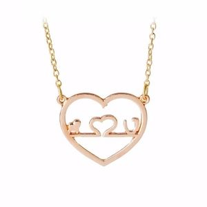 Jewelry - Hollow Heartbeat Love Rose Gold Pendant Necklace
